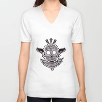 ethnic V-neck T-shirts featuring Ethnic Skull by haidishabrina