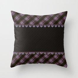 Brown plaid, plaid blanket, brown pattern, patchwork, folklore, rustic style, elegant pattern, plaid Throw Pillow