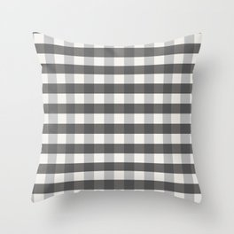 Grey and Pottery White Plaid Gingham Farmhouse Country Canvas digital texture Throw Pillow