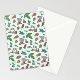 Guinea Pig Pattern in Mint Green Background with mix berries Stationery Cards
