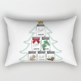 Ball Mason Jar Christmas Tree Drawing Rectangular Pillow