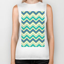 Pastel green yellow blue modern zigzag chevron pattern Biker Tank