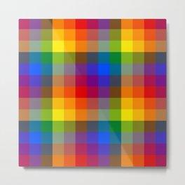 Rainbow Checkers Metal Print