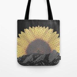Boulder Colorado Flatirons Sunflower Decor \\ Chautauqua Park Floral Yellow Nature Bohemian Style Tote Bag
