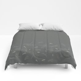 Dragonfly Pattern on Warm Grey Comforters