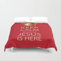 keep calm Duvet Covers featuring Keep Calm by Evelyn Zoe
