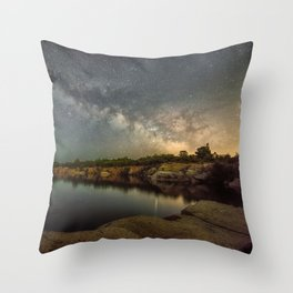 Milkyway at Halibut Point State Park quarry Throw Pillow