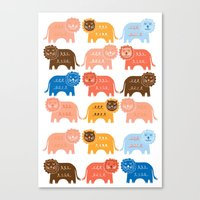 lions Canvas Prints featuring Lions  by Claire Brown Surface Pattern