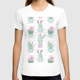 Cute Potted Cacti Stripe Pattern T-shirt