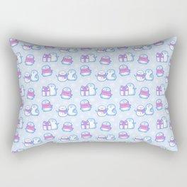 Winter Penguins // Blue Rectangular Pillow