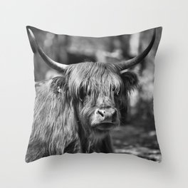 Scottish highlander cow in the woods!  Throw Pillow