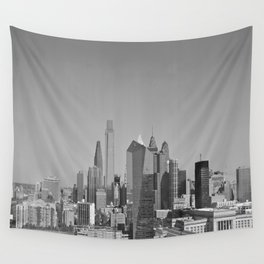 Black and White Philadelphia Skyline Wall Tapestry