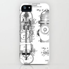 Fire Fighter Patent - Fire Hydrant Art - Black And White iPhone Case