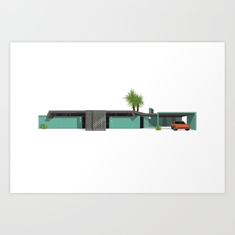Original Mid Century Modern House, Teal Art Print