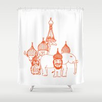 moscow Shower Curtains featuring Moscow by OneOneTwo