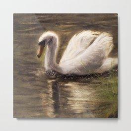 White Swan Painting Metal Print