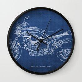 2010 Moto Guzzi Griso1200 8V, motorcycle blueprint, blue poster,milimiter,original poster,giftforhim Wall Clock