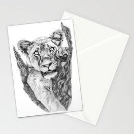 Lioness Hanging On a Tree Stationery Cards