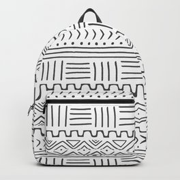Mud Cloth on White Backpack