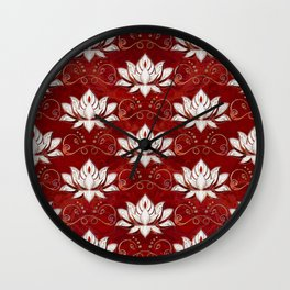 Lotus flower pattern - red marble and gold Wall Clock