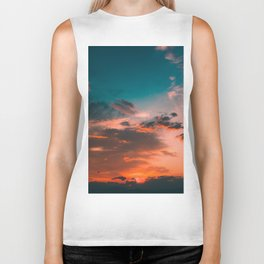 Colorful Pink Orange Turquoise Sunset Clouds Ombre Gradient Biker Tank