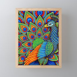 Colorful Paisley Peacock Rainbow Bird Framed Mini Art Print