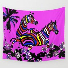 Zebra Hot Pink Rainbow Wall Tapestry