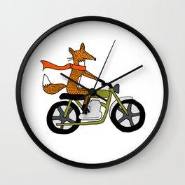 Fox on motorcycle Wall Clock