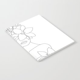 Minimal Line Art Woman with Flowers VI Notebook