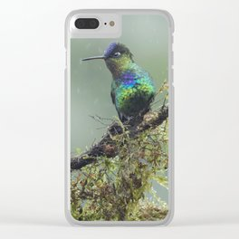Two Fiery-throated Hummingbirds talking in the rain Clear iPhone Case