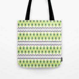 Abstract avocado green black geometric zigzag stripes pattern Tote Bag