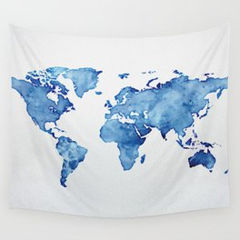 Blue World Map 03 Wall Tapestry