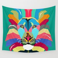 lion Wall Tapestries featuring lion by mark ashkenazi