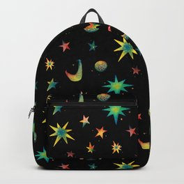 Colorful Watercolor Stars and Moons Pattern Backpack