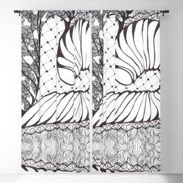 Black and White Art Deco Doodle Design Blackout Curtain