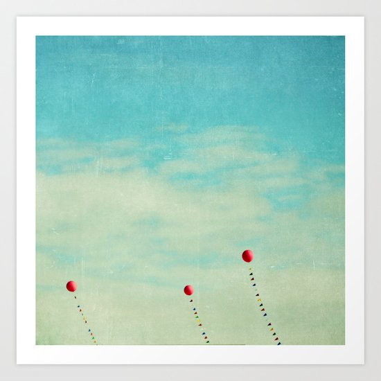 three red balloons II Art Print