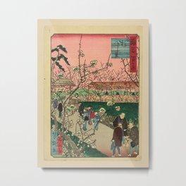 Ichiyôtei Yoshitaki - 100 Views of Naniwa: Flowering Plum Garden (1880s) Metal Print