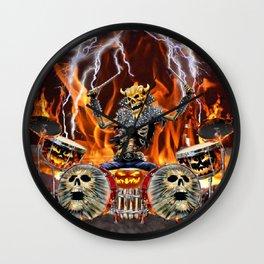 HEAVY METAL ZOMBIE DRUMMER Wall Clock