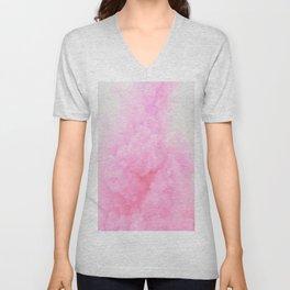 Pink Neon Smoke Clouds Unisex V-Neck