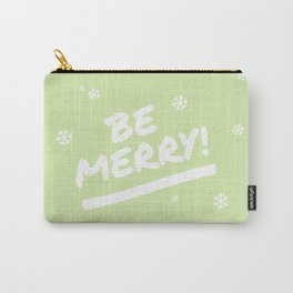 Bright Lime Green Be Merry Christmas Snowflakes Carry-All Pouch