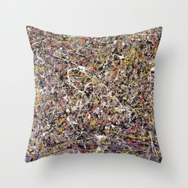 Intergalactic - Jackson Pollock style abstract painting by Rasko Throw Pillow