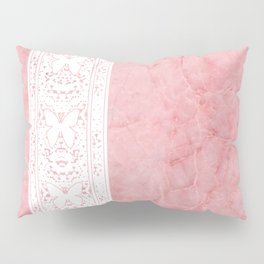 Delicate White Stripe Butterfly Pattern Pink Texure Design Pillow Sham