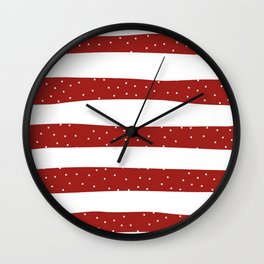 Christmas Simple seamless pattern Snow confetti on White and Red Stripes Background Wall Clock