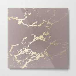 Kintsugi Ceramic Gold on Red Earth Metal Print