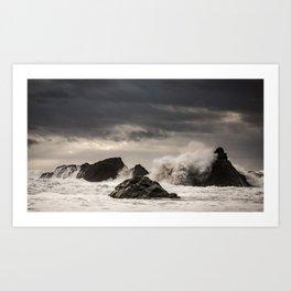 Waves Batter the Ocean Rocks During Rough Weather at Harris Beach State Park in Brookings, Oregon Art Print