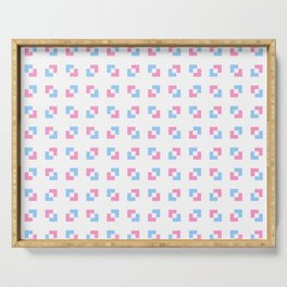 square and tartan 19 - Pink and blue Serving Tray
