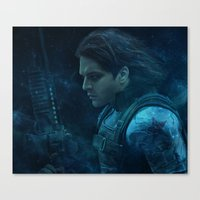 bucky barnes Canvas Prints featuring The Winter Soldier (Bucky Barnes) by thecannibalfactory