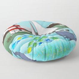 Coastal Sailing - Nautical Landscape Scene Floor Pillow