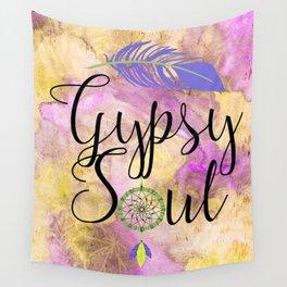 Gypsy Soul - Boho Dreamcatcher Watercolor Hippy Art Wall Tapestry