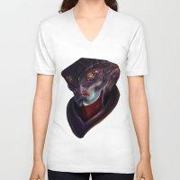 mass effect V-neck T-shirts featuring Mass Effect: Javik by Ruthie Hammerschlag